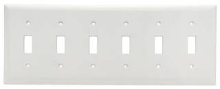 (P&S) SP6W WHITE TOGGLE SWITCH WALL PLATE 6GANG