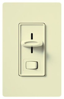 SELV-300P-AL  SKYLARK ALMOND 300W SINGLE POLE LOW VOLTAGE SLIDE DIMMER PRESET W/ ON-OFF SWITCH