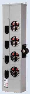 ITE WMM41125R Residential Meter Stack 1Phase 3Wire Incoming and Outgoing 4 Jaws Ringless Type 4 meter positions per stack 125A max tenant breaker Outdoor