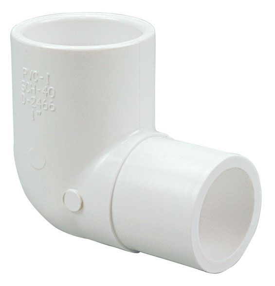 "1-1/4"" PVC 90D Straight Elbow - SCH 40, Spigot x Slip"