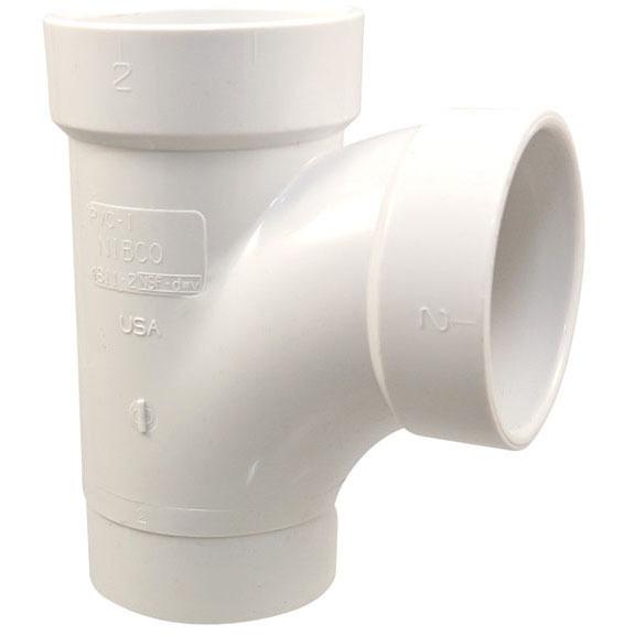 """2"""" x 1-1/2"""" x 2"""" PVC Reducing Tee - Spigot x Hub x Hub, Street"""