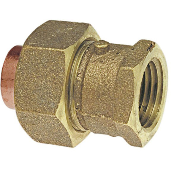 "2-1/2"" Cast Bronze Alloy Straight Union Female Soldered x Female Threaded"