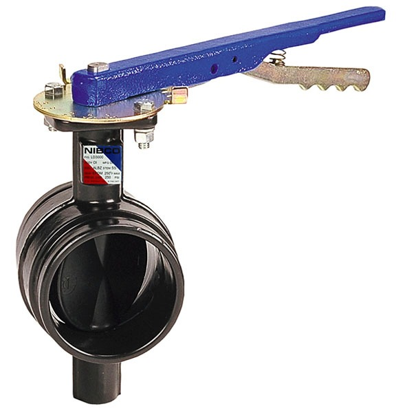 """4"""" GD4765 Grooved Extended Neck Lug Butterfly Valve, Ductile Iron"""