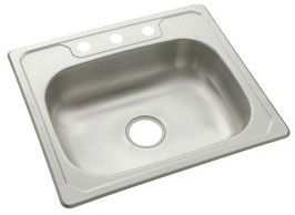 "25"" x 22"" x 6-1/4"" Top Mount Single Bowl Kitchen Sink - Middleton / SilentShield, Satin Deck / Luster Bowl, Stainless Steel"