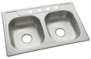 "33"" x 22"" x 6-1/4"" Top Mount Double-Equal Bowl Kitchen Sink - Middleton / SilentShield, Stainless Steel"
