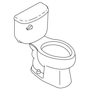 Windham Gravity-Assisted Toilet, Vitreous China 1.28 GPF White