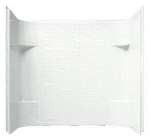 "Accord 3-Piece Corner Alcove Bath/Shower Wall Set, Solid Vikrell 60"" X 31-1/4"" X 56-1/4"" White, Durable High-Gloss"