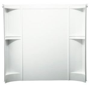 "Accord 3-Piece Corner Bath/Shower Wall Set, Solid Vikrell 60"" X 30"" X 55"" White, High-Gloss"