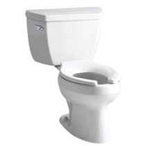 Wellworth Pressure-Assisted Toilet, Vitreous China 1 GPF White 2-Piece, Elongated Bowl, LH Trip Lever