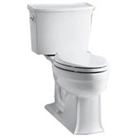 Archer, Comfort Height Gravity-Assisted Toilet, Vitreous China 1.28 GPF White 2-Piece, Elongated Bowl, LH Trip Lever
