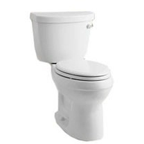 Cimarron, Comfort Height Gravity-Assisted Toilet, Vitreous China 1.28 GPF White 2-Piece, Elongated Bowl, RH Trip Lever