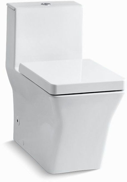 Reve, Comfort Height Gravity-Assisted Toilet, Vitreous China 0.8/1.6 GPF White 1-Piece, Elongated Bowl