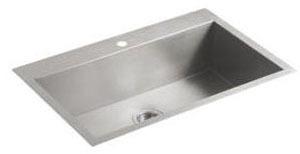 Vault Large Single Basin Sink 1-Hole Stainless Steel