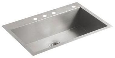 Vault Large Single Basin Sink 4-Hole Stainless Steel