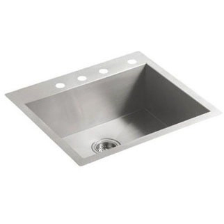 Vault Single Basin Sink 4-Hole Stainless Steel