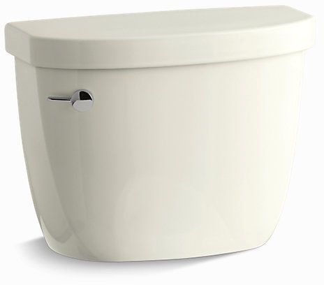 Cimarron, Aqua Piston Left Hand Flush Toilet Tank, Vitreous China 1.28 GPF Biscuit