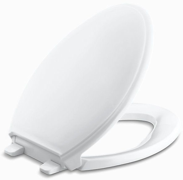 Q3, Quiet-Close, Glenbury Elongated Closed Front Toilet Seat, Solid Polypropylene Plastic White