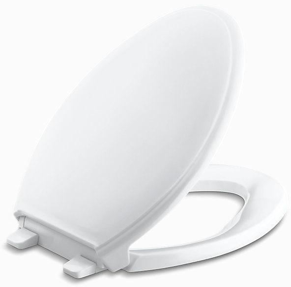 Q3, Quiet-Close, Glenbury Elongated Closed Front Toilet Seat, Solid Polypropylene Plastic White