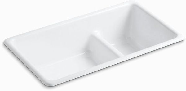 "Iron/Tones Drop-In/Undermount Kitchen Sink, Enameled Cast Iron 33"" X 18-3/4"" X 9-5/8"""