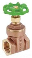 "1"" Brass Full Port Solid Wedge Gate Valve - Handwheel, FPT, 200 psi WOG, 125 psi SWP"