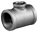 "1-1/4"" X 1-1/4"" X 3/4"" Black Malleable Iron Reducing Tee"