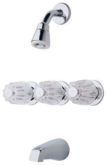 Bedford Wall Mount Tub and Shower Faucet, Polished Chrome