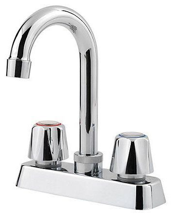 Bar Faucet with High-Arc Spout & Two Knob Handle - Pfirst Series, Polished Chrome, Deck Mount, 1.8 GPM