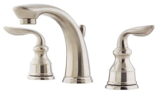 Avlone Deck Mount Bathroom Sink Faucet, Brushed Nickel