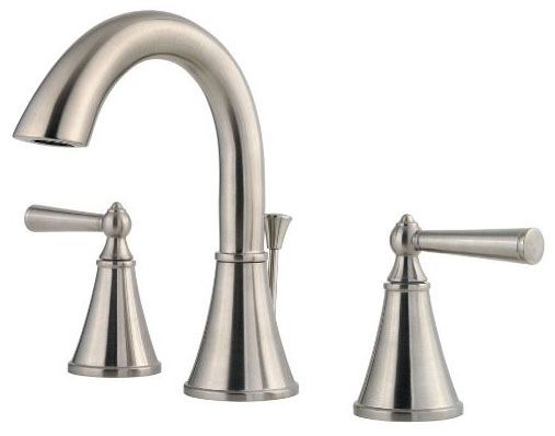 Bathroom Sink Faucet with High-Arc Spout & Two Lever Handle - Saxton, Brushed Nickel, Deck Mount, 1.5 GPM