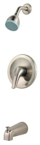Tub and Shower Trim with Single Lever Handle - Pfirst Series, Brushed Nickel, Wall Mount, 2.5 GPM