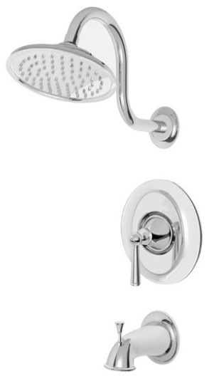 Tub and Shower Trim with Single Lever Handle - Saxton, Polished Chrome, Wall Mount, 2.5 GPM