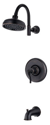 Tub and Shower Trim with Single Lever Handle - Ashfield, Tuscan Bronze, Wall Mount, 2.5 GPM