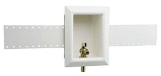 """White Ice Maker Outlet Box - ProPEX, with Support Bracket / 1/2"""" Brass Valve, High-Impact Polystyrene"""
