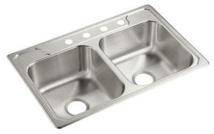 "33"" x 22"" x 8-1/4"" Top Mount Double-Equal Bowl Kitchen Sink - Middleton / SilentShield, Satin Deck / Luster Bowl, Stainless Steel"