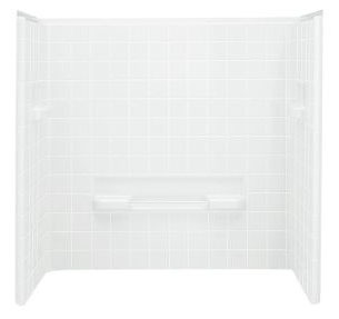 "All Pro 3-Piece Corner Bath/Shower Wall Set, Solid Vikrell 60"" X 31-1/2"" X 60"" White/Swirl-Gloss"