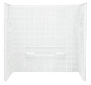 "All Pro 3-Piece Corner Bath/Shower Wall Set, Solid Vikrell 60"" X 31-1/2"" X 60"" White/Swirl-Gloss"