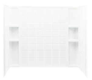 "Ensemble 3-Piece Corner Bath/Shower Wall Set, Solid Vikrell 60"" X 33-1/4"" X 55-1/4"" White/High-Gloss"