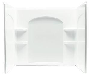 "Ensemble 3-Piece Curved Corner Bath/Shower Wall Set, Solid Vikrell 60"" X 33-1/4"" X 55-1/4"" White/High-Gloss"
