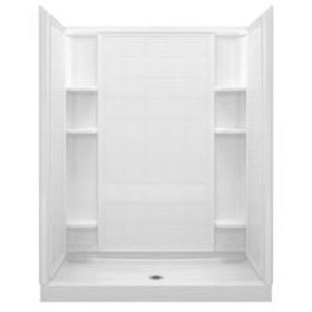 "Ensemble 4-Piece Alcove Shower Unit, Solid Vikrell 60"" X 34"" X 75-3/4"" White/High-Gloss"