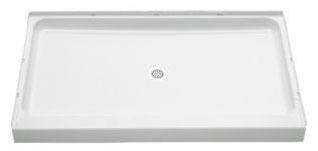 "Ensemble Rectangle Shower Receptor, Solid Vikrell 60"" X 34"" White/High-Gloss"