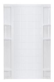 "60"" x 72-1/2"" Modular Corner Shower Enclosure Back Wall - Ensemble, White / High Gloss, Solid Vikrell"