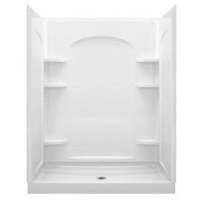 """Ensemble 4-Piece Curve Alcove Shower Unit, Solid Vikrell 60"""" X 34"""" X 75-3/4"""" White/High-Gloss"""