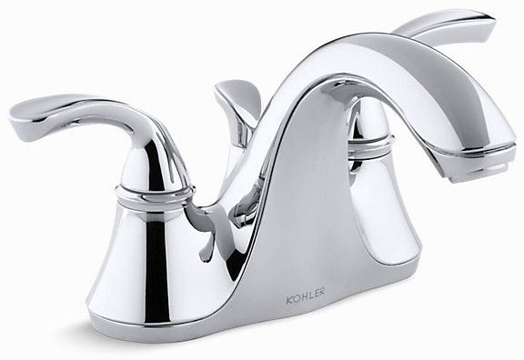 Bathroom Sink Faucet with Stationary Spout & Two Sculpted Lever Handle - Forte, Polished Chrome, Deck Mount, 1.5 GPM