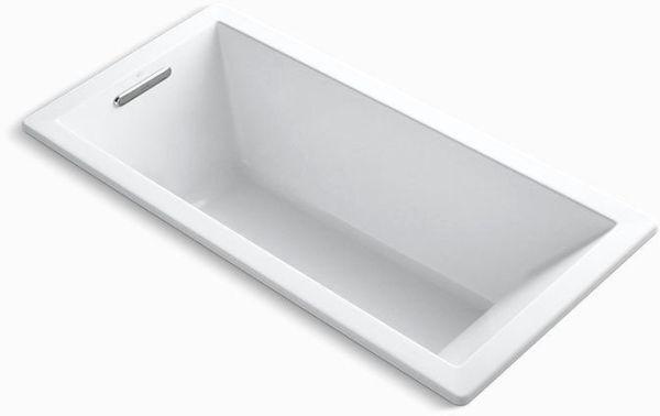 "Underscore Drop-In Mount Bathtub, Acrylic 66"" X 32"" White"