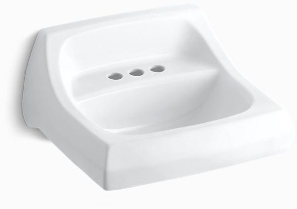 "21-1/4"" x 18-1/8"" Wall Mount / Concealed Arm Carrier Bathroom Sink - Kingston, 3-Hole, White, Vitreous China"