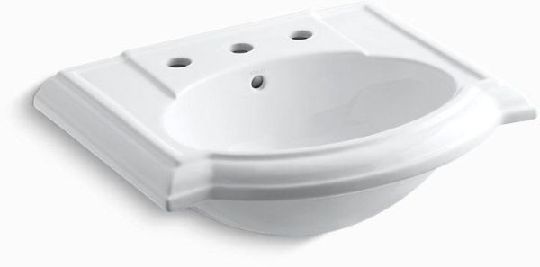 "Devonshire Pedestal Mount Bathroom Sink, Vitreous China 24-1/8"" X 19-3/4"" White"