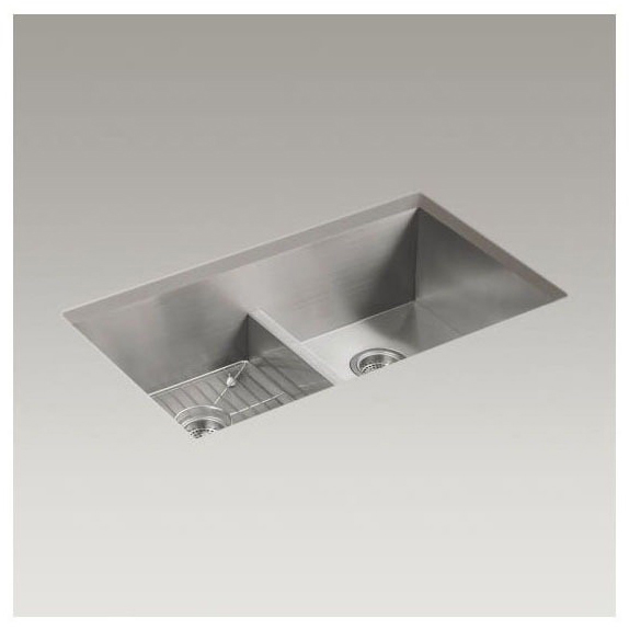 "33"" x 22"" x 9-5/16"" Top / Undermount Double-Equal Bowl Kitchen Sink - Vault / Smart Divide, Stainless Steel"