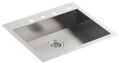 "Vault Drop-In/Undermount Kitchen Sink, Stainless Steel 25"" X 22"" X 6-5/16"""