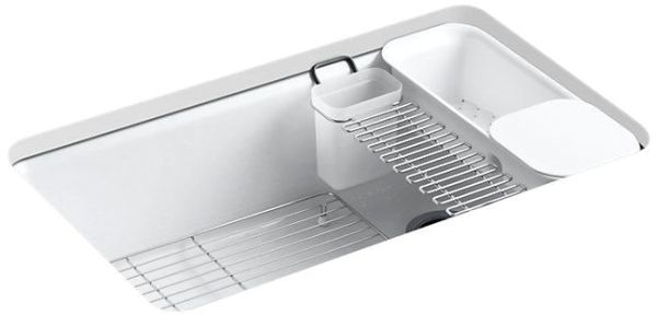 "Riverby Undermount Kitchen Sink, Enameled Cast Iron 33"" X 22"" X 9-5/8"""