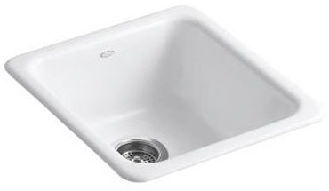 "Iron/Tones Drop-In/Undermount Kitchen Sink, Enameled Cast Iron 17"" X 18-3/4"" X 8-1/4"""